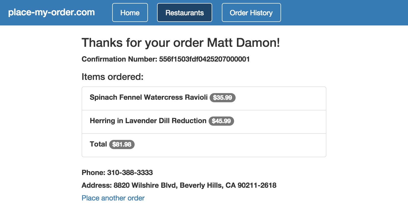 Restaurant order confirmation page
